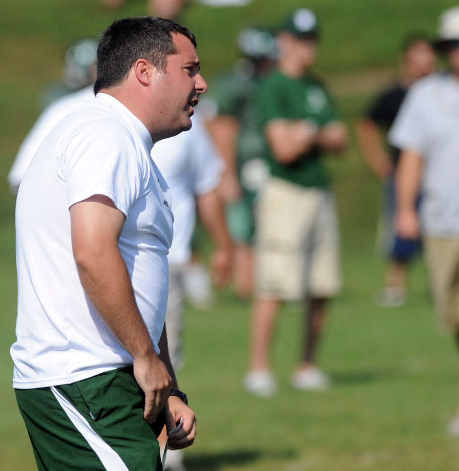 Norwalk coach Sean Ireland watches his team play during the High School Football Jamboree at Veterans Memorial Stadium in Wilton on Saturday, September 1, 2012. Photo: Lindsay Niegelberg / Stamford Advocate