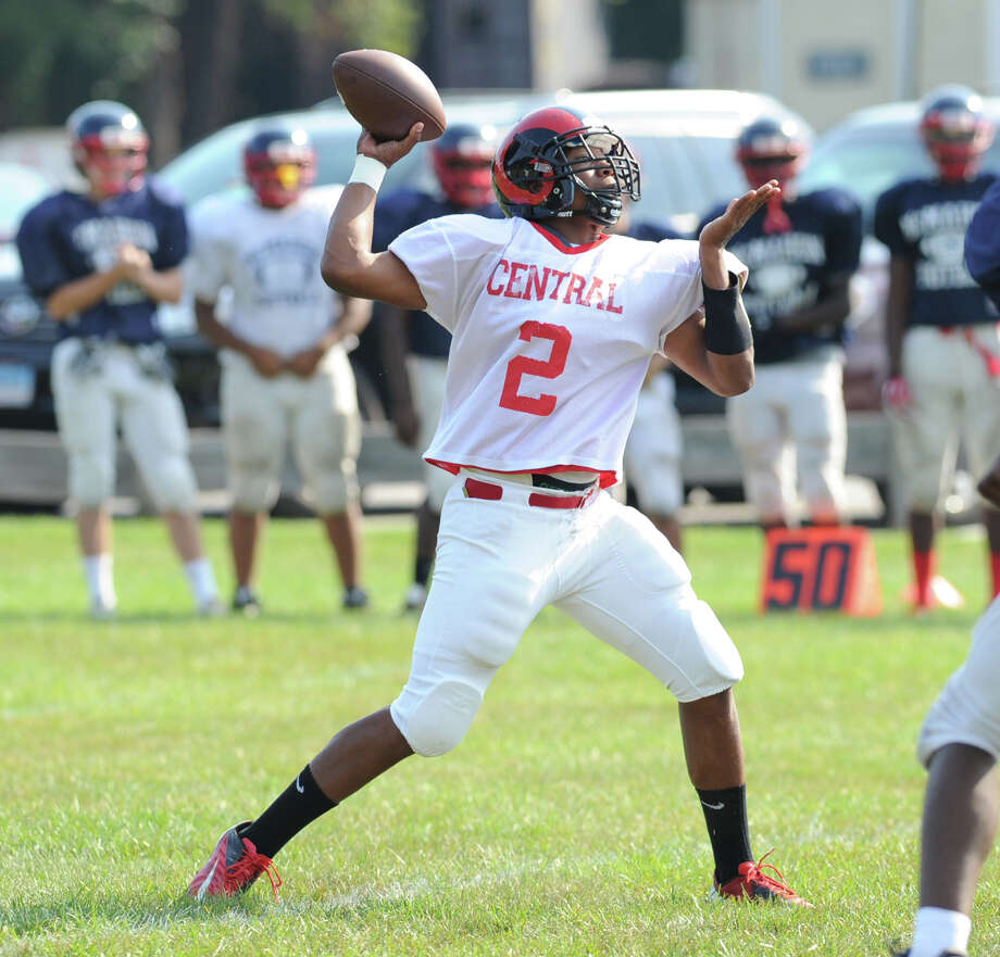 Bridgeport Central High School quarterback, Xavier Hardison, # 2, throws in the scrimmage against Brien McMahon High School during the high School football jamboree at Wilton High School, Saturday morning, Sept. 1, 2012. Photo: Bob Luckey / Greenwich Time