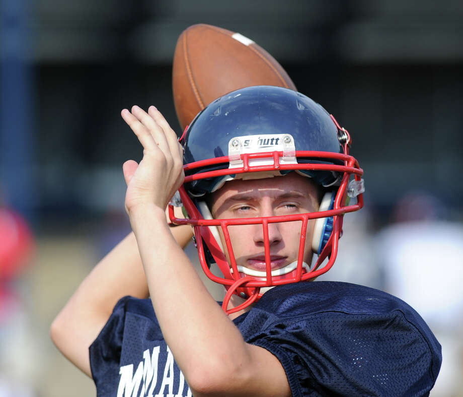Brien McMahon High School quarterback Matt Downey during the high School football jamboree at Wilton High School, Saturday morning, Sept. 1, 2012. Photo: Bob Luckey / Greenwich Time