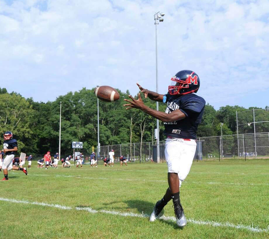 Brien McMahon High School running back Trevon Forney #5 during the high School football jamboree at Wilton High School, Saturday morning, Sept. 1, 2012. Photo: Bob Luckey / Greenwich Time
