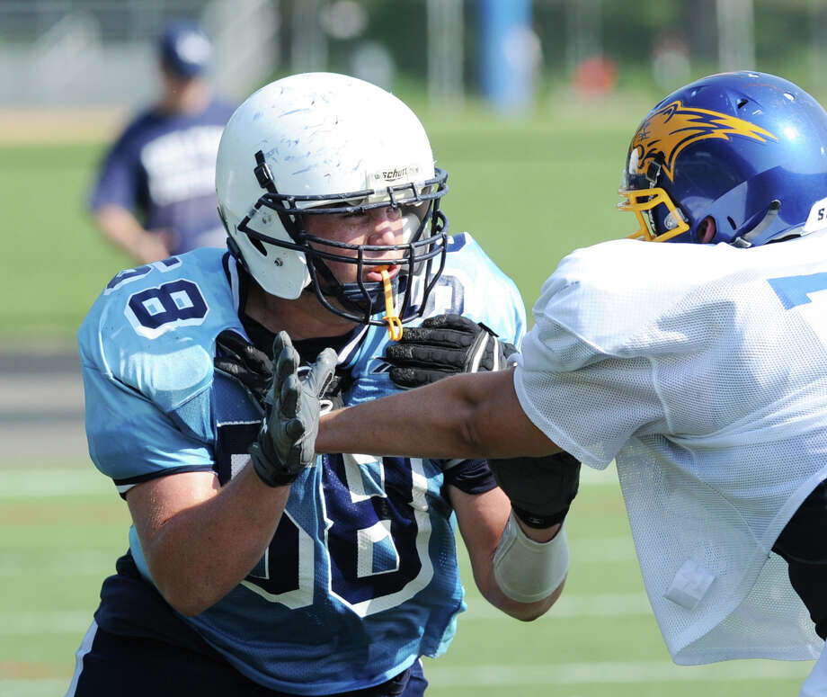 Wilton's Mike LaSala # 58 in scrimmage against Brookfield High School during the high School football jamboree at Wilton High School, Saturday morning, Sept. 1, 2012. Photo: Bob Luckey / Greenwich Time