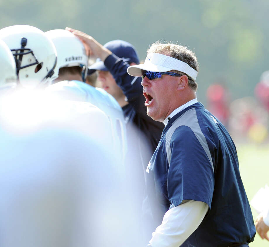 Wilton High School Head Football Coach Bruce Cunningham during the high School football jamboree at Wilton High School, Saturday morning, Sept. 1, 2012. Photo: Bob Luckey / Greenwich Time