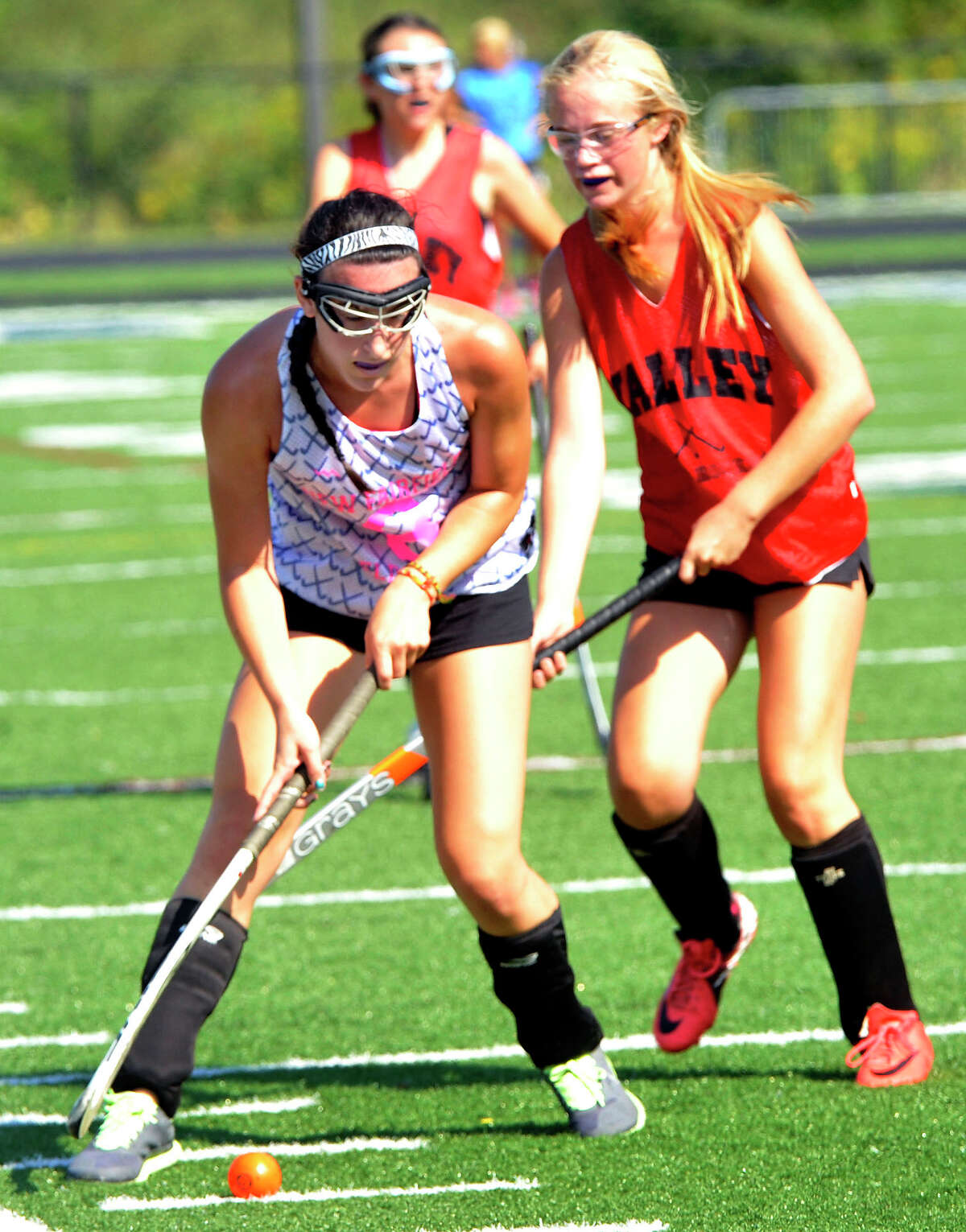 New Fairfield plays Valley Regional at the Mustang Mix-up Field Hockey Jamboree in Danbury Saturday, Sept. 1, 2012.