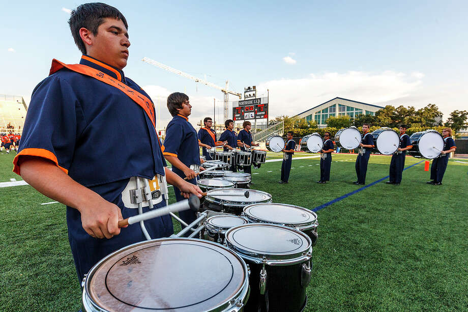 The Brandeis drum line performs prior to their season openerwith Smithson Valley at Farris Stadium on Aug. 31, 2012.  MARVIN PFEIFFER/ mpfeiffer@express-news.net Photo: MARVIN PFEIFFER, Express-News / Express-News 2012