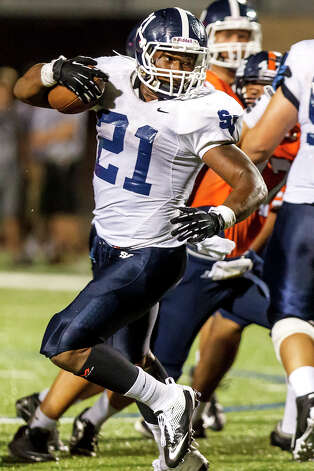 Smithson Valley running back Lawrence Mattison spins towards the goal line on a third quarter run during the Rangers' season opener with Brandeis at Farris Stadium on Aug. 31, 2012.  MARVIN PFEIFFER/ mpfeiffer@express-news.net Photo: MARVIN PFEIFFER, Express-News / Express-News 2012