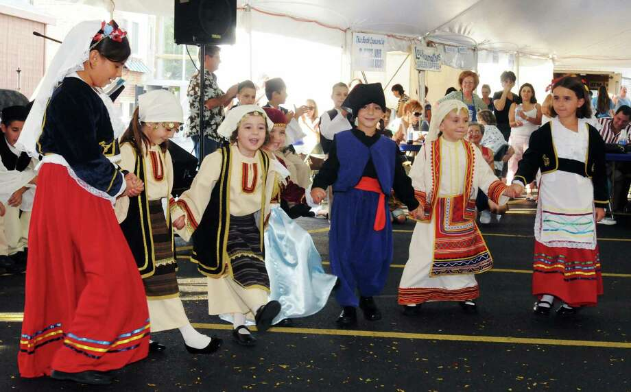 Times Union Photo by James Goolsby-SEPT. 5, 2008-The Fotia Hellenic Dance Society, ages 3-6 performs a greek dance. At the St. George Orthodox Church Annual Greek Festival in Schenectady. Photo: JAMES GOOLSBY JAMES GOOLSBY / 080827002A