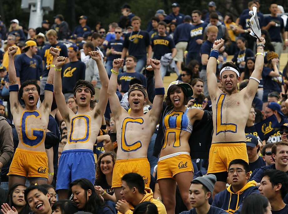 Fans in the student section cheer for the Bears. For underclassmen, Saturday's game was their first chance to watch football in the venerable stadium. Photo: Paul Chinn, The Chronicle
