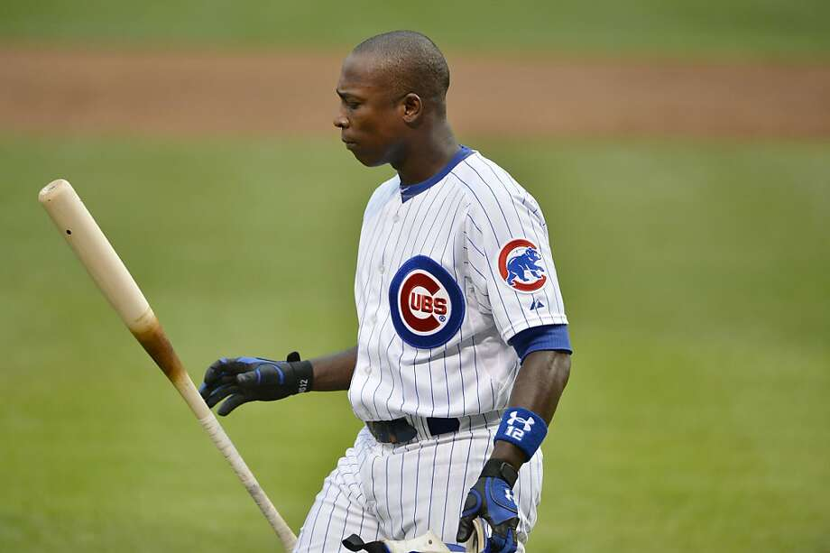 Alfonso Soriano #12 of the Chicago Cubs flips his bat after striking out during the first inning against the Chicago Cubs at Wrigley Field on September 1, 2012 in Chicago, Illinois.  (Photo by Brian Kersey/Getty Images) Photo: Brian Kersey, Getty Images