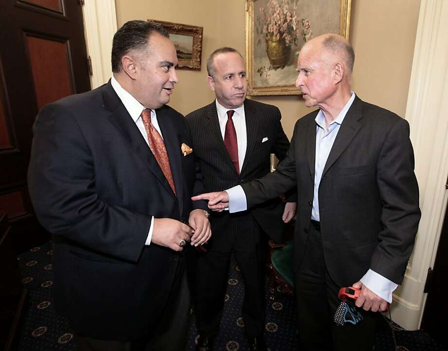 Assembly Speaker John Pérez (left), state Senate President Pro Tem Darrell Steinberg and Gov. Jerry Brown, all Democrats, are the chief architects of the pension reform measure. They did not consult with labor leaders in framing the bill. Photo: Rich Pedroncelli, Associated Press