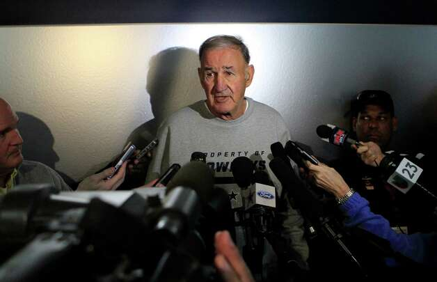 New Dallas Cowboys defensive coordinator Monte Kiffin talks with the media during an introductory interview session of coaching staff members, Thursday, February 14, 2013 at Valley Ranch in Irving, Texas. (John Rhodes/Fort Worth Star-Telegram/MCT) Photo: John Rhodes, McClatchy-Tribune News Service / Fort Worth Star-Telegram