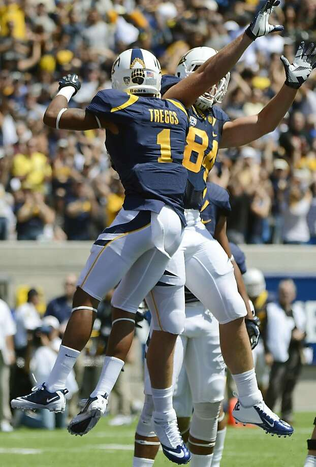 BERKELEY, CA - SEPTEMBER 01:  Bryce Treggs #1 and Jacob Wark #84 of California celebrates after Treggs catches a thirty seven yard touchdown pass during a game between the Nevada Wolf Pack and the California Golden Bears at California Memorial Stadium on September 1, 2012 in Berkeley, California.  (Photo by Thearon W. Henderson/Getty Images) Photo: Thearon W. Henderson, Getty Images