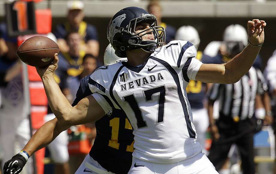 Nevada quarterback Cody Fajardo (17) drops back to pass against California during the first half of an NCAA college football game, Saturday, Sept. 1, 2012, in Berkeley, Calif. (AP Photo/Ben Margot) Photo: Ben Margot, Associated Press
