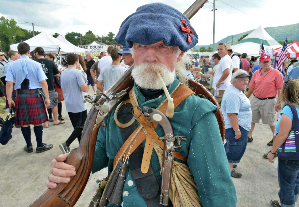 17C highland reenactor Ken Grant of Elliot, Maine, at the Scottish Games at the Altamont Fairgrounds Saturday Sept. 1, 2012. (John Carl D'Annibale / Times Union)