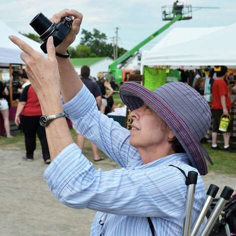 Claudia Doeblin of Wilton stretches for a photograph during the Scottish Games at the Altamont Fairgrounds Saturday Sept. 1, 2012.  (John Carl D'Annibale / Times Union) Photo: John Carl D'Annibale / 00018807A