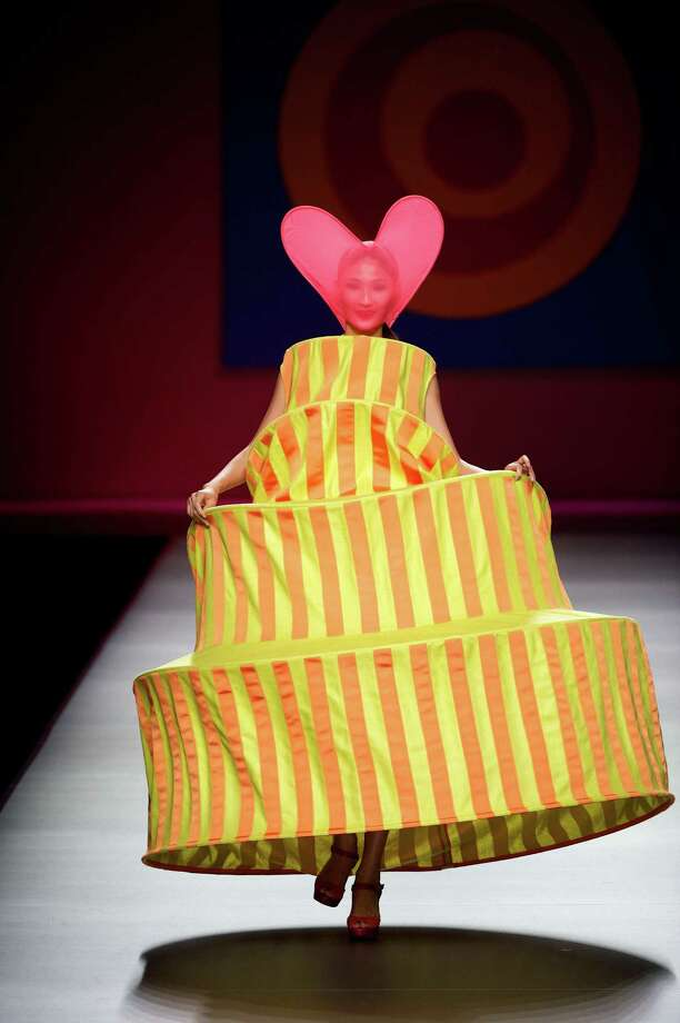 A model walks the runway in the Agatha Ruiz de la Prada fashion show. Photo: Carlos Alvarez, Getty Images / 2012 Getty Images