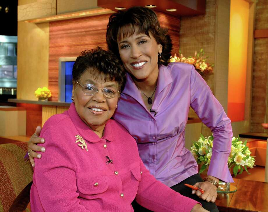 """This 2006 photo released by ABC shows """"Good Morning America"""" co-host Robin Roberts, right, with her mother Lucimarian Roberts on the set in New York. Jeffrey W. Schneider, senior vice president of ABC News, said 88-year-old Lucimarian Roberts died Thursday, Aug. 30, 2012. ABC's Facebook page said Robins traveled """"home to Mississippi just in time to see her."""" The death came on the same day Roberts said goodbye to her co-workers and audience before starting medical leave for a bone marrow transplant. Her departure had been set for Friday. But in a last-minute change of plans she told her viewers she was leaving a day early to visit her ailing mother.  WABC-TV said Lucimarian Roberts was the first African-American to head Mississippi's board of education. She also collaborated with her daughter on a book titled, """"My Story, My Song: Mother-Daughter Reflections on Life and Faith."""" (AP Photo/ABC, Donna Svennevik) Photo: DONNA SVENNEVIK"""