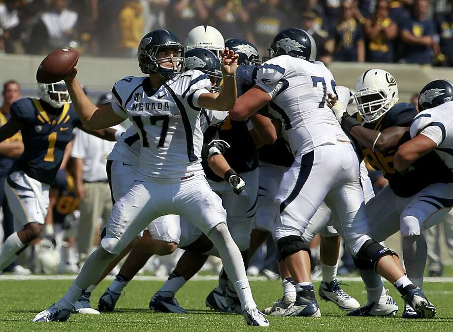 Nevada quarterback Cody Fajardo shreds the Bear's defense in Cal's 31-14 loss to the Nevada Wolfpack at the renovated Memorial Stadium in Berkeley, Calif. on Saturday, Sept. 1, 2012. Photo: Paul Chinn, The Chronicle