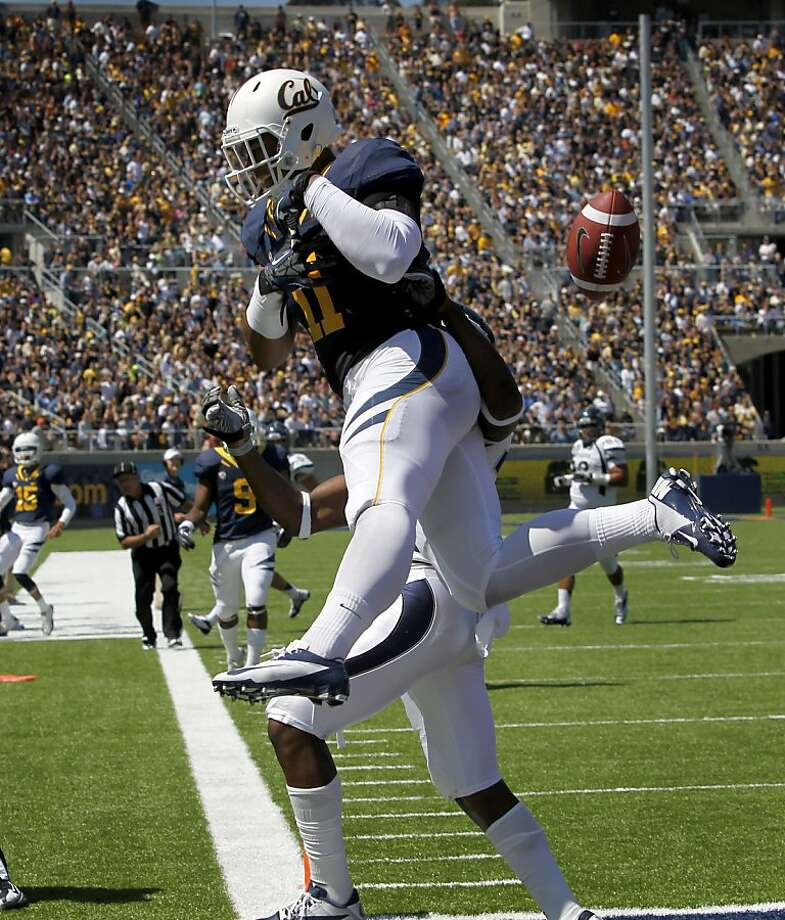 Tight end Richard Rodgers can't hold on to a touchdown pass in the end zone in the 3rd quarter of the Bears' 31-14 loss to the Nevada Wolfpack at the renovated Memorial Stadium in Berkeley, Calif. on Saturday, Sept. 1, 2012. Photo: Paul Chinn, The Chronicle