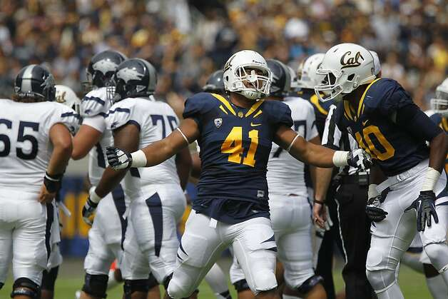 Cal's Todd Barr, (41) celebrates a first quarter quarterback sack, as the California Bears lose to the University of Nevada 31-24 at the newly renovated Memorial Stadium on Saturday September 1, 2012, in Berkeley, Calif. Photo: Michael Macor, The Chronicle