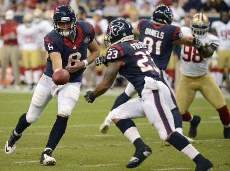 vs.MIN ,Week 16, Dec. 23 ,noon, Fox Hou 37, Min 17  Record:11-4 Arian Foster and Matt Schaub reach milestones with 1,400 yards rushing and 4,000 yards passing, respectively. Andre Johnson catches his 10th scoring pass. (Dave Einsel / AP)