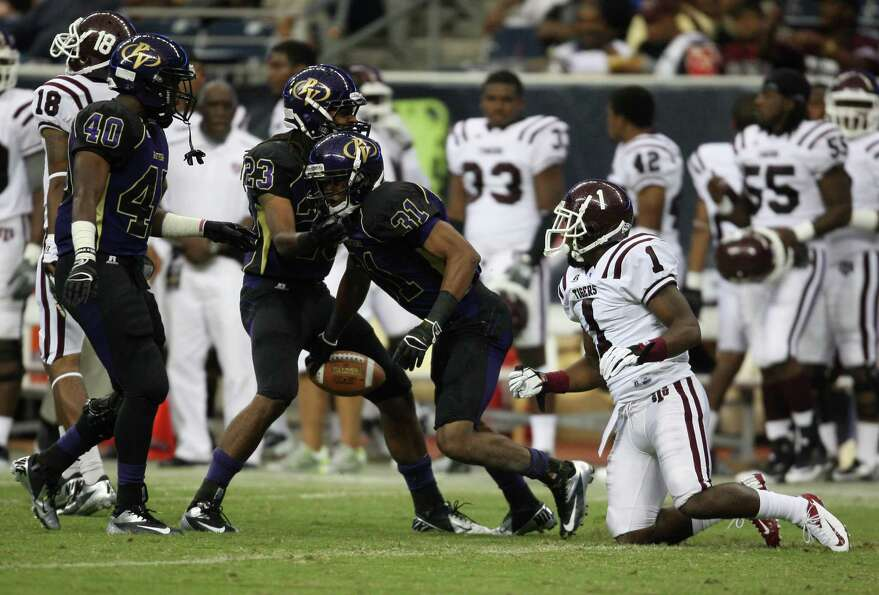 Prairie View defensive back Brian Medlock (31) celebrates his interception as Texas Southern's Fred