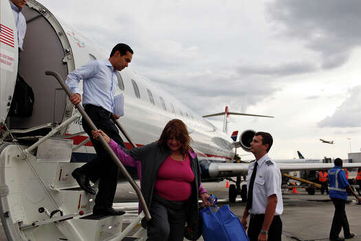 Mayor Julián Castro arrives in Charlotte, NC, for the Democratic National Convention on Saturday, Sept. 1, 2012. Photo: Lisa Krantz, San Antonio Express-News / San Antonio Express-News