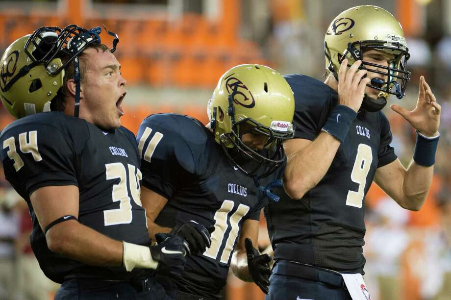 Klein Collins' Brandon Edmons (34), Josh Pereson (11) and Blake Jackson (9) celebrate after Jackson scored on a rushing touchdown during the first half of a high school football game at BBVA Compass Stadium, Saturday, Sept. 1, 2012, in Houston. Photo: Smiley N. Pool, Houston Chronicle / © 2012  Houston Chronicle