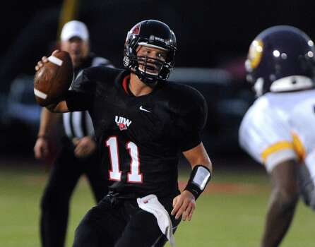 UIW Cardinals quarterback Trent Brittain looks for a receiver during college football action against Texas College at Benson Stadium on Saturday, Sept. 1, 2012. Photo: Billy Calzada, Express-News / © San Antonio Express-News