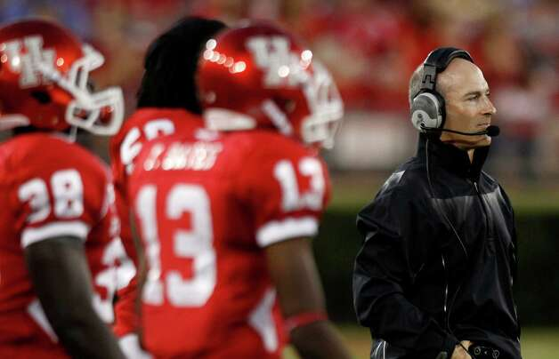 Houston head coach Tony Levine walks the sidelines during the first quarter in an NCAA football game against Texas State at Robertson Stadium, Saturday, Sept. 1, 2012, in Houston. Photo: Brett Coomer, Houston Chronicle / © 2012  Houston Chronicle