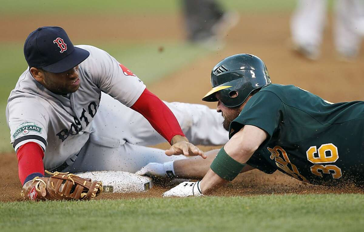 Oakland Athletics' Derek Norris (36) slides save back into first base past the tag of Boston Red Sox first baseman James Loney (22) in the third inning of a baseball game Saturday, Sept. 1, 2012 in Oakland, Calif. (AP Photo/ Tony Avelar)