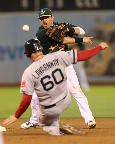 Ryan Lavarnway #60 of the Boston Red Sox slides into second on a fielder's choice hit by Pedro Ciriaco as Cliff Pennington #2 of the Oakland Athletics throws to first during a Major League Baseball game at the O.co Coliseum on September 1, 2012 in Oakland, California. (Photo by Jed Jacobsohn/Getty Images) Photo: Jed Jacobsohn, Getty Images