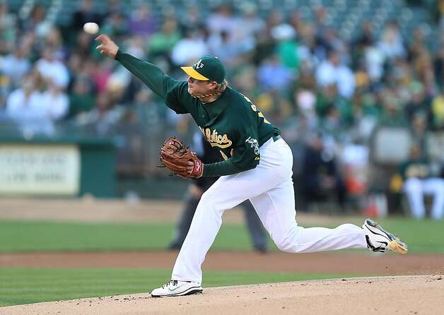 A.J. Griffin #64 of the Oakland Athletics pitches against the Boston Red Sox during a Major League Baseball game at the O.co Coliseum on September 1, 2012 in Oakland, California. (Photo by Jed Jacobsohn/Getty Images) Photo: Jed Jacobsohn, Getty Images