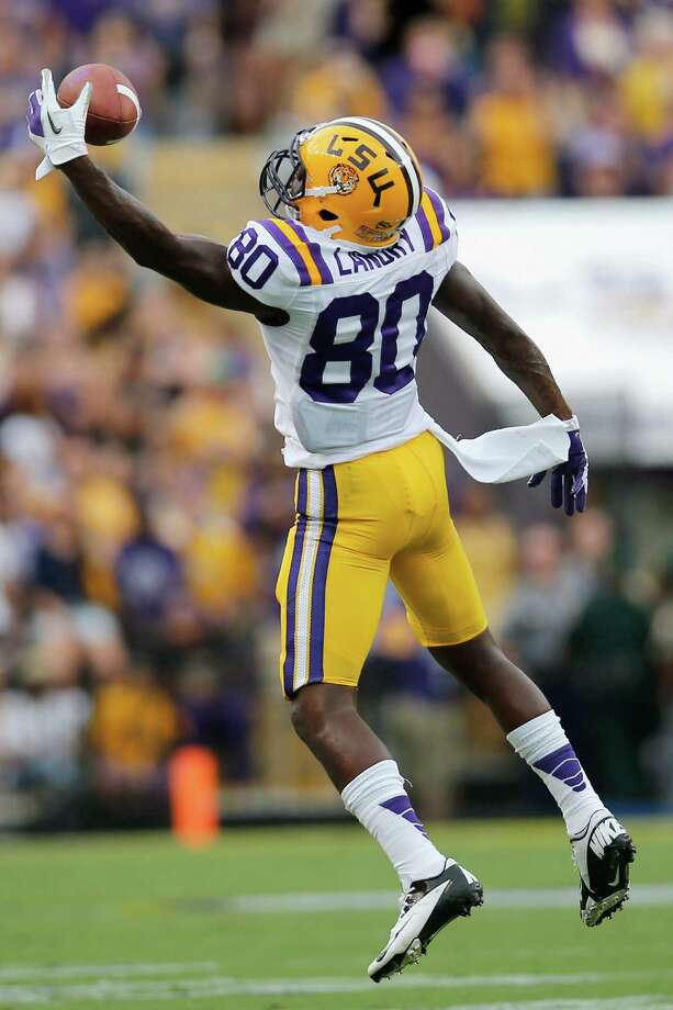 BATON ROUGE, LA - SEPTEMBER 01:  Jarvis Landry #80 of the LSU Tigers makes a one handed catch against the North Texas Mean Green at Tiger Stadium on September 1, 2012 in Baton Rouge, Louisiana.  (Photo by Chris Graythen/Getty Images) Photo: Chris Graythen / 2012 Getty Images