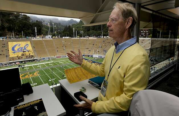 Joe Starkey at his broadcast position in the newly renovated Memorial Stadium on Saturday. Photo: Michael Macor, The Chronicle