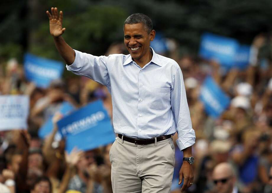 President Barack Obama waves as he walks on stage during campaign stop on the campus of the University of Colorado in Boulder, Colo., on Sunday, Sept. 2, 2012. (AP Photo/David Zalubowski) Photo: David Zalubowski, Associated Press