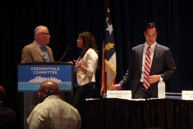 Mayor Julian Castro takes as his seat as he prepares to lead a meeting of the Credentials Committee, which he is the co-chair of, at the Charlotte Convention Center in Charlotte, NC, for the Democratic National Convention on Sunday, Sept. 2, 2012. Photo: Lisa Krantz, San Antonio Express-News / San Antonio Express-News