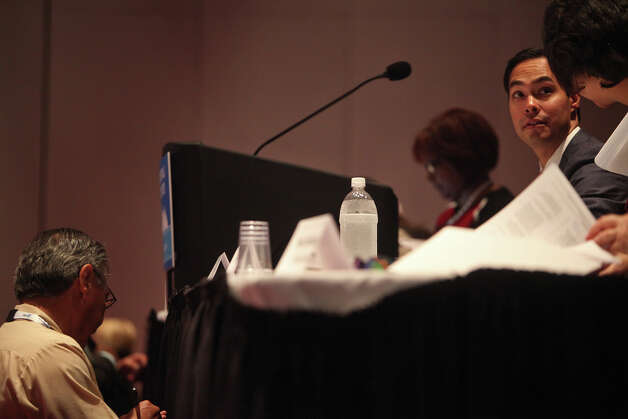Mayor Julian Castro waits for the start of the Credentials Committee, which he is the co-chair of, at the Charlotte Convention Center in Charlotte, NC, for the Democratic National Convention on Sunday, Sept. 2, 2012. Photo: Lisa Krantz, San Antonio Express-News / San Antonio Express-News