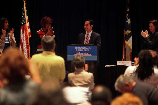 Mayor Julian Castro gets a standing ovation upon his mention of his upcoming keynote address as he leads a meeting of the Credentials Committee, which he is the co-chair of, at the Charlotte Convention Center in Charlotte, NC, for the Democratic National Convention on Sunday, Sept. 2, 2012. Photo: Lisa Krantz, San Antonio Express-News / San Antonio Express-News