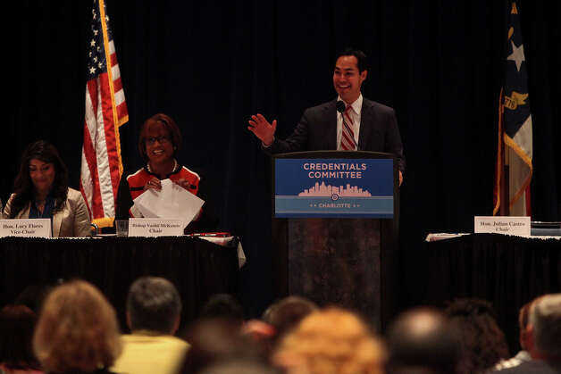 Mayor Julian Castro jokes about his upcoming keynote address after the delegates gave him a standing ovation upon his mention of the speech as he leads a meeting of the Credentials Committee, which he is the co-chair of, at the Charlotte Convention Center in Charlotte, NC, for the Democratic National Convention on Sunday, Sept. 2, 2012. Photo: Lisa Krantz, San Antonio Express-News / San Antonio Express-News