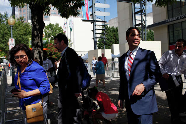 Mayor Julian Castro waits for his ride after leading a meeting of the Credentials Committee, which he is the co-chair of, at the Charlotte Convention Center in Charlotte, NC, for the Democratic National Convention on Sunday, Sept. 2, 2012. Photo: Lisa Krantz, San Antonio Express-News / San Antonio Express-News