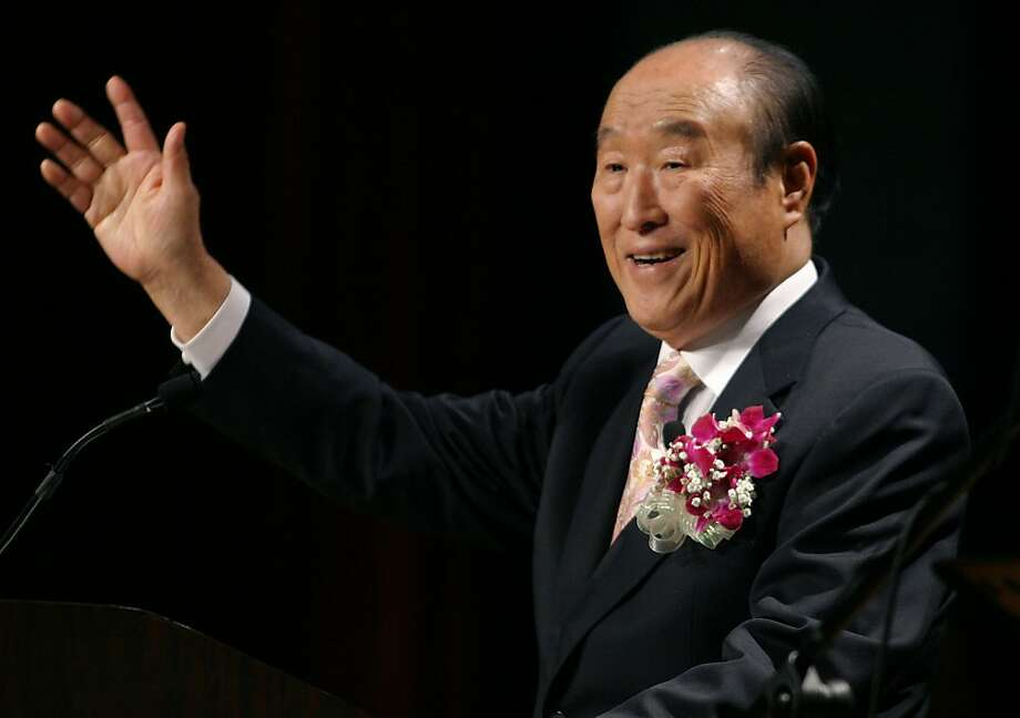 "The Rev. Sun Myung Moon speaks at a ""Now Is God's Time"" rally in New York in 2005. Photo: John Marshall Mantel, Associated Press"