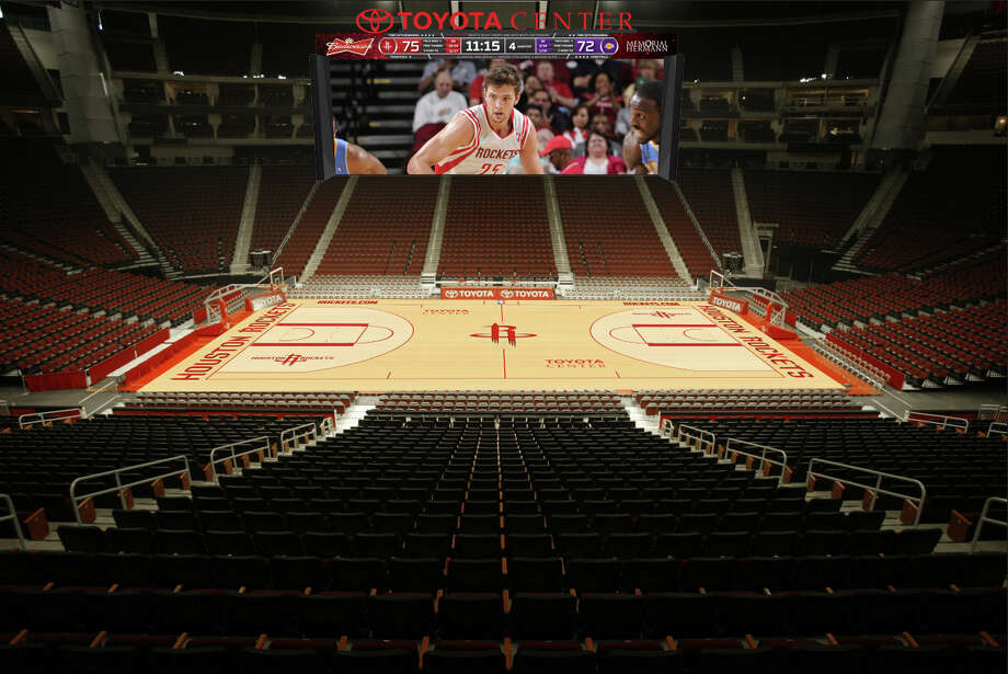 "Giving new meaning to the chant ""Beat L.A.,"" Toyota Center management's goal is to create nightly Hollywood productions on the new video screens, perhaps starring Chandler Parsons with a cast of thousands. The premiere is set for the home opener Nov. 3. Photo: Houston Rockets / Houston Rockets"
