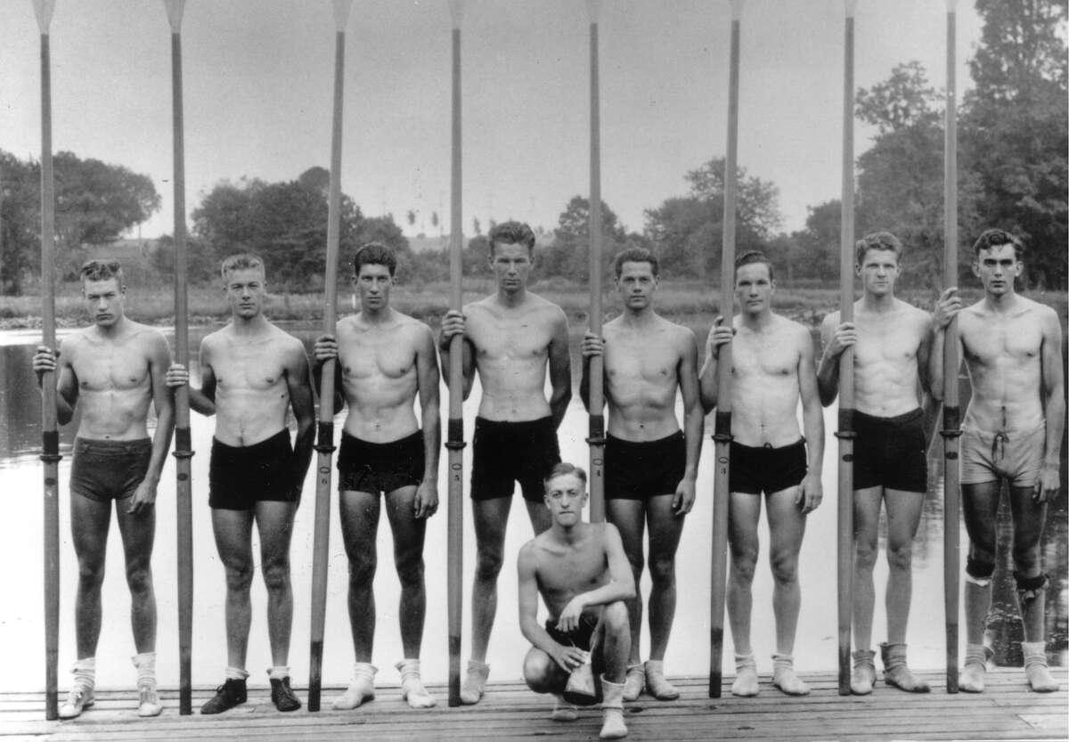 The 1936 UW crew included, from left, stroke Don Hume, Joe Rantz, George Hunt, Jim McMillin, Bob Moch (kneeling), John White, Gordy Adam, George Day and Roger Morris. (Photo courtesy the University of Washington.)