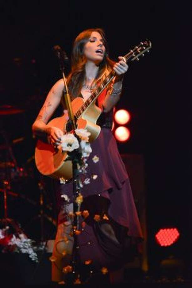 Christina Perri performs Sunday night, Sept. 2, 2012, at the Saratoga Performing Arts Center in Saratoga Springs. (Shawn Morgan / Special to the Times Union)