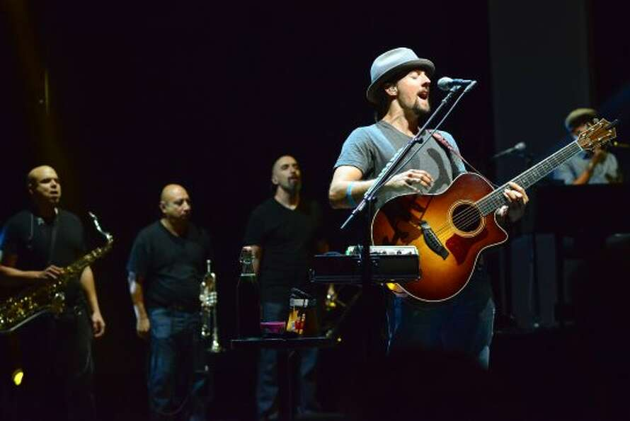 Jason Mraz performs Sunday night, Sept. 2, 2012, at the Saratoga Performing Arts Center in Saratoga