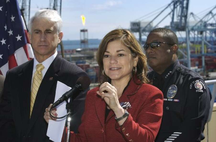 U.S. Rep. Loretta Sanchez, D-Calif., talks about port security measures during a news conference at