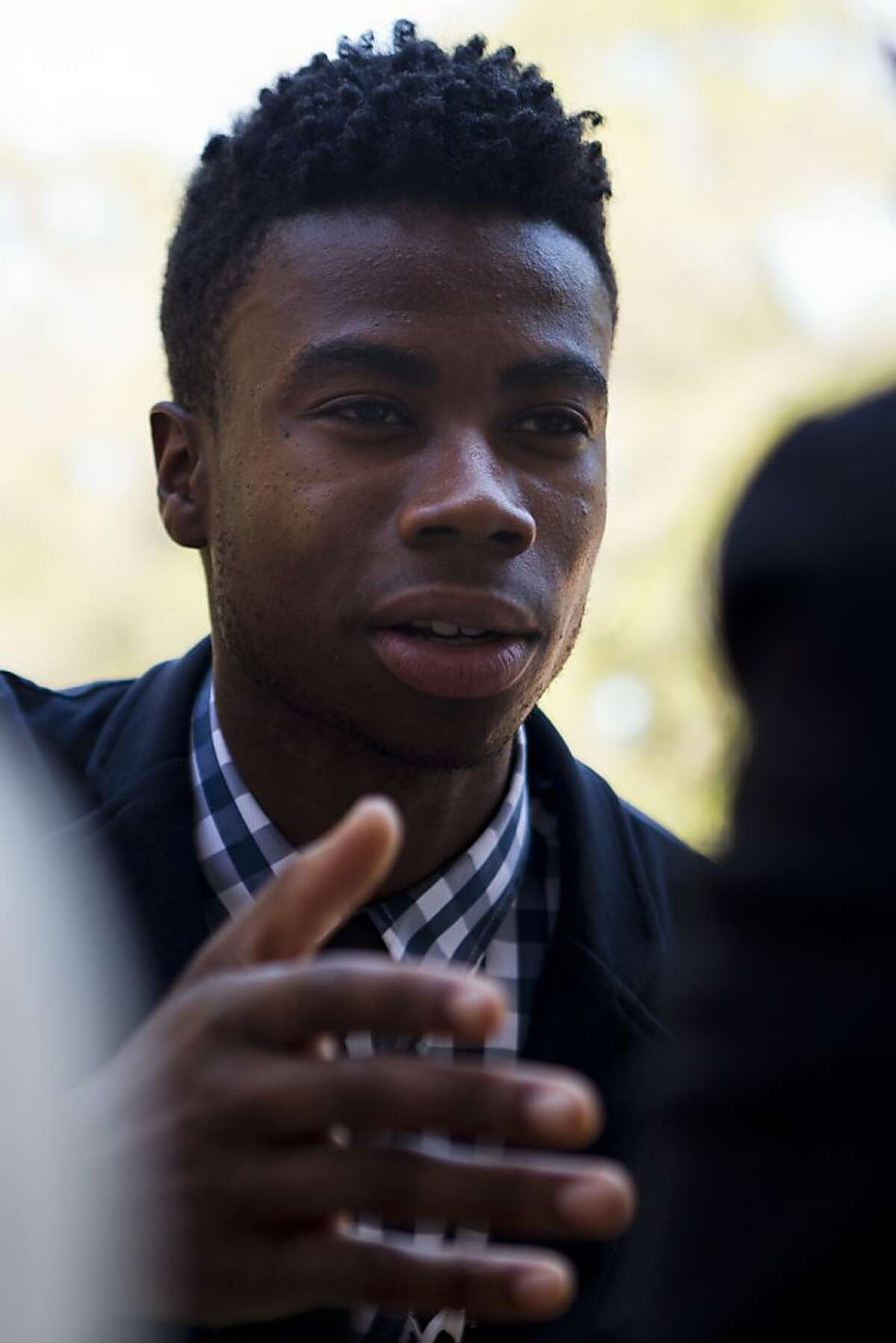 Josh Hamilton, of Oakland, who spent his time in Senegal when he was a fellow of the Global Citizen Year in 2010-2011, returns to the first week of sessions at Stanford University to offer insight and encouragement to this years fellows on Thursday, August 23, 2012 in Palo Alto, Calif.