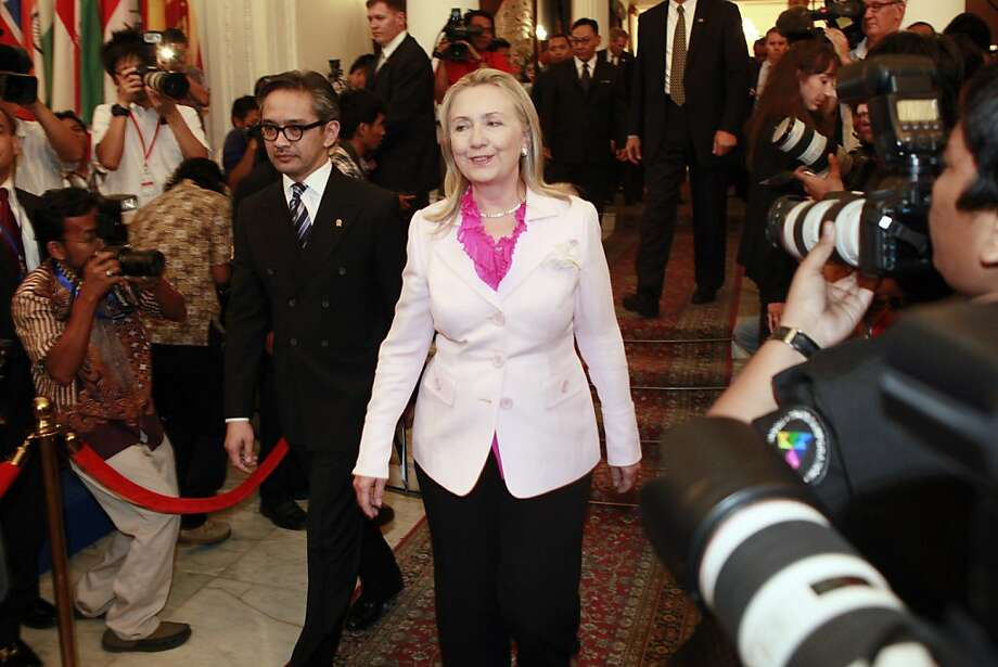 "Hillary Rodham Clinton with Indonesian Foreign Minister Marty Natalegawa urges ""meaningful progress"" in the conflict. Photo: Dita Alangkara, Associated Press"