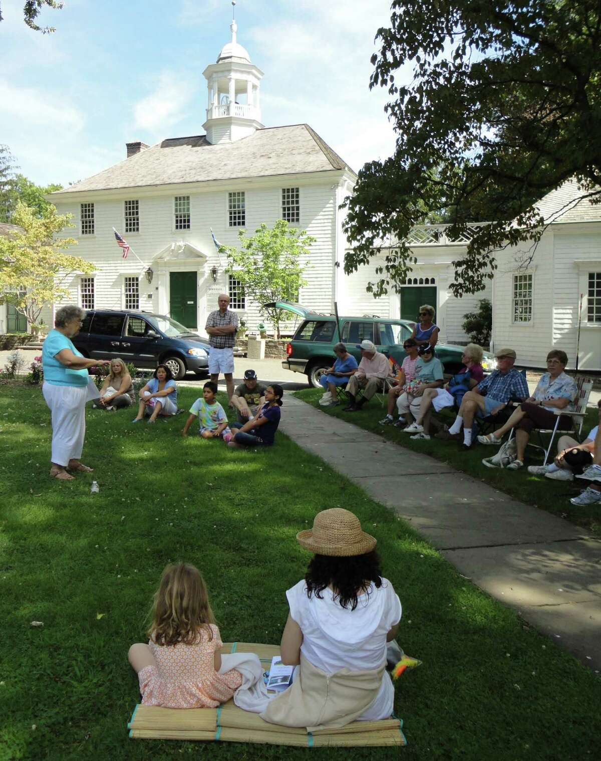 A second part of Betty Oderwald's presentation on the War of 1812 Sunday took place on the green in front of the old Town Hall, where she talked about the peace treaty that ended the conflict. Residents of Fairfield celebrated on the green in February 1815 with music, dancing and an ox roast.