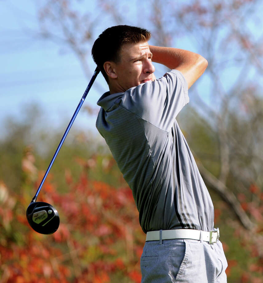 Bethlehem's Victor Fox tees off during Section II golf championship on Tuesday, Oct. 11, 2011, at Orchard Creek Golf Club in Guilderland, N.Y. The top 16 players will advance in the state qualifier. (Cindy Schultz / Times Union) Photo: Cindy Schultz / 00014914A
